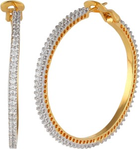 Affinity Stylish round CZ Design Cubic Zirconia Silver, Alloy Hoop Earring