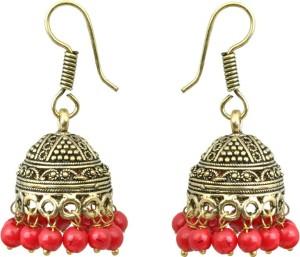 Waama Jewels red Fashion Jewellery For Women Daily Wear gifts to her Pearl Brass Jhumki Earring