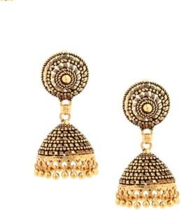 GoldNera Antique Texture Alloy Jhumki Earring