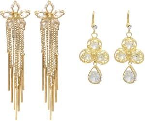 FashBlush Hot Shining Flower( Set Of 2 Pairs ) Crystal Alloy Dangle Earring