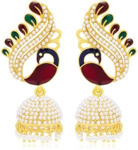 Jewels Guru Diva Style Pearl Copper Jhumki Earring