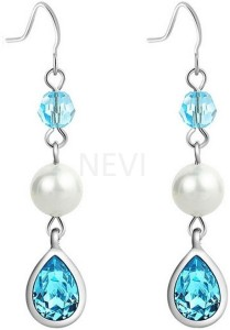 Nevi Blue and White Crystal, Pearl, Swarovski Crystal Metal, Crystal, Mother of Pearl Dangle Earring