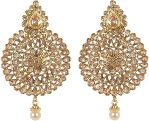Muchmore Beautiful Ethnic Gold Plated Polki Earring For Women's Partywear Jewelry Crystal, Pearl Alloy Earring Set