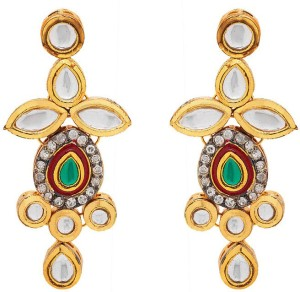 Rajwada Arts Traditional Kundan Design Brass Dangle Earring