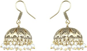 Waama Jewels Beautiful White Pearl Silver Plated Jhumki For Daily Wear, Office Wear, Party Wear Jewellery Pearl Brass Jhumki Earring