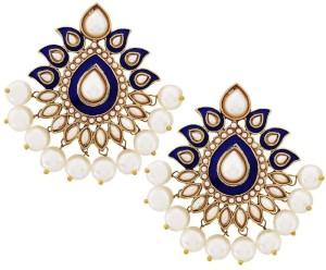 The Jewel Box Paisley Flower Pearl Copper Stud Earring