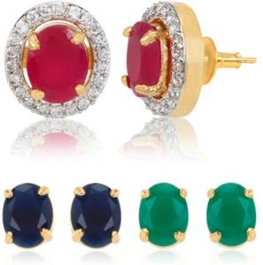Alysa Emma Cubic Zirconia Ruby Copper Br Stud Earring