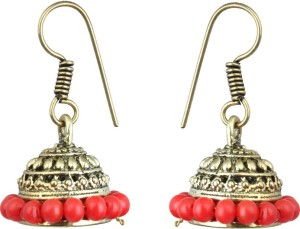 Waama Jewels Red gold Plated back Push Style for girl Wedding Mothers Day Gift Pearl Brass Jhumki Earring