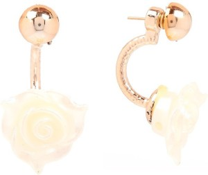 Tsquare White Rose Alloy Stud Earring