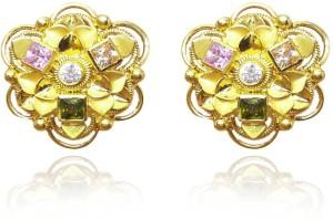 Standard Jeweller Multicolor Flower Yellow Gold 22kt Cubic Zirconia Stud Earring