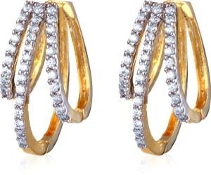 Alysa Hiyasvi Cubic Zirconia Brass, Copper, Silver Huggie Earring