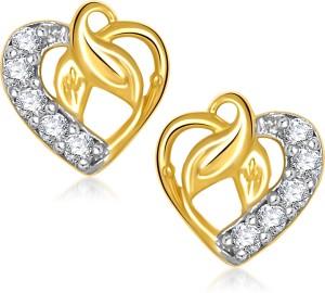 VK Jewels Leaf In Heart Cubic Zirconia Alloy Stud Earring