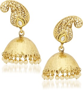 Amaal Golden Plated Copper Traditional For Women E Pearl Alloy, Brass, Copper Jhumki Earring