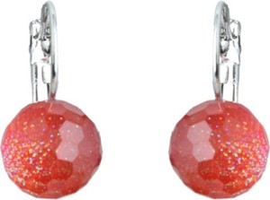Waama Jewels Charming Red Color Pearl Silver Plated Stud Party wear Christmas Gift New Year Gift Pearl Brass Stud Earring