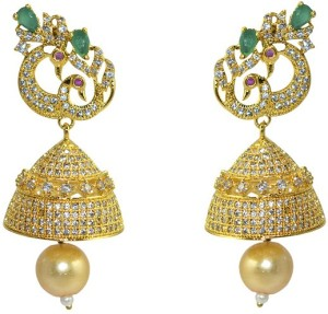 MP Fine Jewellery Multicolor Traditional Tops For Women Zircon Alloy Jhumki Earring