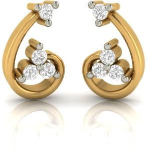 Demira Jewels Floral Tuba Yellow Gold 14kt Diamond Stud Earring