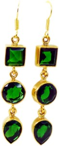 Riyo Unique Emerald Cz Cubic Zirconia Copper Dangle Earring