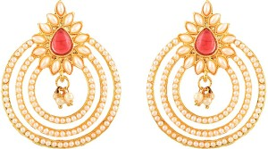 Zeneme Pearls Designer Kundan Jhumka Earring Jewellery For Women and Girls Alloy Chandelier Earring