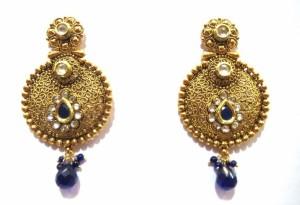 Jewelshingar 5148-pe-blue Cubic Zirconia, Zircon Brass Dangle Earring