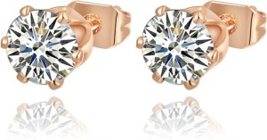 Swarovski Elements Small Solitaire 0.7 cm Zircon Gold Plated Stud Gift for Women Swarovski Crystal Metal Stud Earring