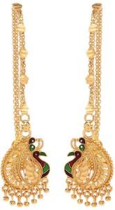 GoldNera Peacock Design Southindian Brass Dangle Earring