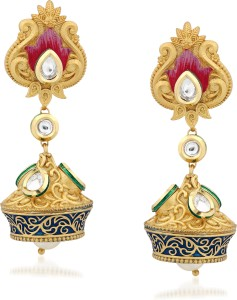 VK Jewels Pearl Drop Kundan Alloy Jhumki Earring