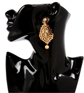 GoldNera 18K Goldplated Kundan Cutwork Alloy Drop Earring
