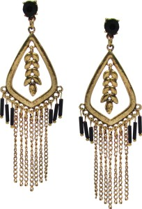 Jewelz Gold Plated Ear Studs With White Stone Setting Metal Tassel
