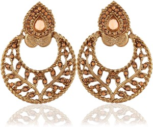 a5a0e7a70b4 Rich Lady Exclusive Designer Golden Stone Gold Finishing Alloy Chandbali  Earring Best Price in India