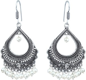 Waama Jewels White silver Plated back Push Style for women Wedding Anniversary Gift Pearl Brass Chandelier Earring