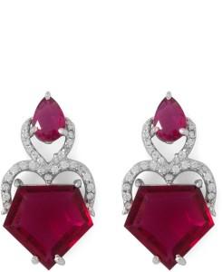 Voylla Precious Classic Plain Crystal Sterling Silver Dangle Earring