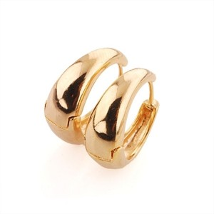 Vaishnavi High Quality 24kt Gold Coated Long Lasting Non-Allergic Bollywood Style Copper Huggie Earring