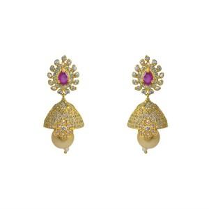 MP Fine Jewellery Elegant Pair Of Tops Zircon Alloy Jhumki Earring