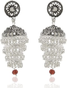 GoldNera Antique Silver Alloy Chic Alloy Jhumki Earring