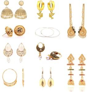 GoldNera Chic combo of 10 Alloy Jhumki Earring