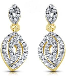 Shriya Gold plated latkan Austrian Diamond earring Set for women by Shriya Alloy Plug Earring