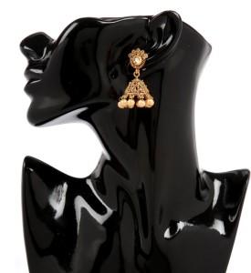 GoldNera 18K Goldplated Kundan Traditional Alloy Jhumki Earring