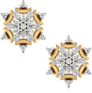 IskiUski Gift for Girlfriend Earrings Yellow Gold 14kt Diamond Stud Earring