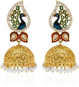 Jewels Gold Cubic Zirconia Alloy Stud Earring, Jhumki Earring