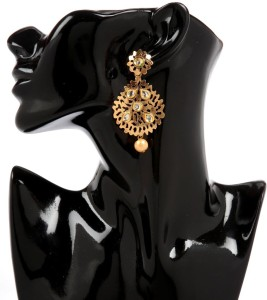 GoldNera 18K Goldplated Kundan Elegant Alloy Drop Earring