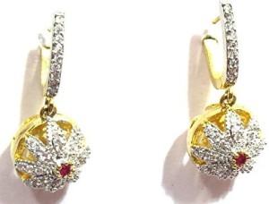 Jewelshingar 8048-ead-r-550-1 Cubic Zirconia, Zircon Brass Hoop Earring