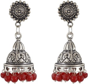 Subharpit Red Color Oxidized Silver Traditional Indian Jhumka Jhumki Earrings for Woman and Girls