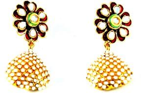 Grandiose Meenakari Kundan Flower Pearl Alloy Jhumki Earring