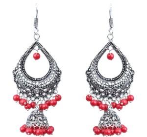 Waama Jewels red Fashion Jewellery For Girls Festival Gift to Wife Pearl Brass Dangle Earring