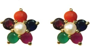 Vinayak navratan Pearl, Coral, Garnet Alloy Stud Earring