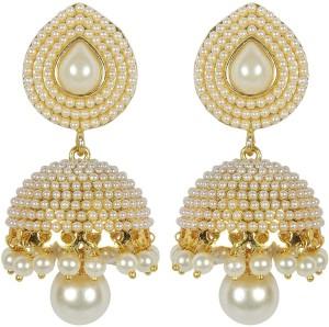 Shining Diva White Pearl Alloy Jhumki Earring