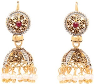 GoldNera Multi Textured Alloy Jhumki Earring