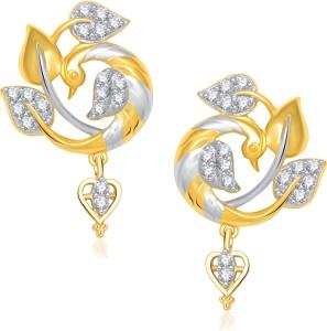 VK Jewels Beautiful Feathers Of Mayur Cubic Zirconia Alloy Drop Earring