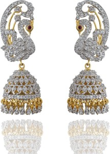 6224858443c79 Chaahat Fashion Jewellery Peacock Shape Cz Stones Cubic Zirconia Copper  Jhumki Earring
