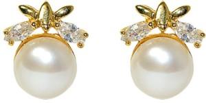 MP Fine Jewellery Beautiful Pair of Fresh Water Tops Zircon Alloy Stud Earring